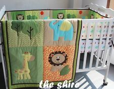 Baby Bedding Crib Cot Quilt Set- NEW 5pcs Quilt Bumper Sheet Dust Ruffle
