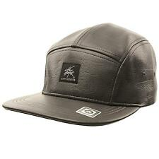 Men's Faux Leather Winter 5 Panel Snapback Biker Cadet Cap Hat Adjustable Gray