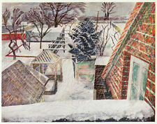 February 2pm Essex snow, Edward Bawden ready mounted vintage print 1946, SUPERB
