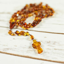 Genuine Natural Baltic Amber Rosary Brown Cognac Colour Amber Cross Handmade