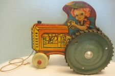 "Antique Toy Tractor Little Girl Farmer Driver 9 1/2"" Paper Litho Wood 1940s Rare"