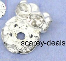 6MM x 20 Crystal CLEAR RONDELLE RHINESTONE silver SPACER BEADS 1st class post