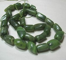 "Canadian Nephrite Green Jade 9-15mm Tube Nugget Beads 15.5"" Genuine Stone"