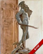 PERSEUS MEDUSA STATUE FLORENCE ITALY WATER COLOR PAINTING ART REAL CANVAS PRINT