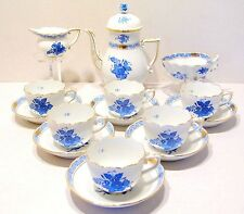 HEREND CHINESE BOUQUET BLUE MOCHA SET for six,16 pieces,BRAND NEW BOXED