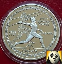 1995 GIBRALTAR 1 Crown Olympic Games Atlanta Javelin Thrower Silver Proof Coin