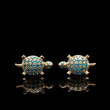 14k Solid Yellow Gold Turtle Stud Earrings Simulated Blue Topaz Studs Screwback