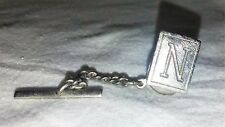 VINTAGE SILVER INITIAL LETTER N TIE TACK PIN CLIP CLASSIC DRESSY JEWELRY ACCENT