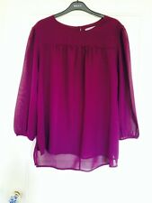 Dark Purple Maroon Sheer Floaty Blouse Summer Shirt Top by First Avenue Size 14