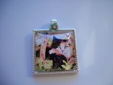 JEWELRY NECKLACE PENDANT 25x25mm CAMEO CABOCHON KITTY CAT IN A BASKET OOAK