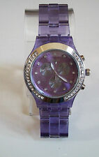 Fashion Designer Light Purple/Silver Finish Boyfriend  light weight stone Watch