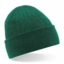 Thinsulate Beanie Knitted Mens Hat Warm Winter Wooly Ribbed Thermal Ski Soft