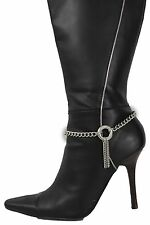 Women Silver Boot Chains Bracelet Western Shoe Charm Jewelry Fringes Ring Dance