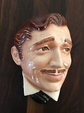 Vintage Clark Gable Rhett Butler Clay Art Mask Wall Hanging Gone with the Wind