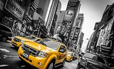 "Yellow cabs in New York Times Square black and white Canvas Print  A1 30"" x 20"""