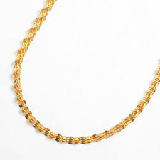 """24K Solid Yellow Gold 3-strand Pedal Chain Necklace 17.75"""" Japan Mint Hallmark"""
