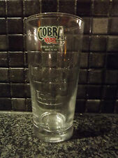 COBRA INDIAN EMBOSSED BEER ½ PINT GLASS THICK BASE WITH WIDGET IN BASE
