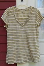 "Gap Brown/White Tie Dye Short Sleeved Pleated V Neck T-Shirt Large (39"") MINT"