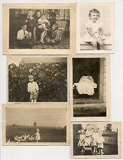 6 vernacular snapshot photos of cute kids, children, babies, chickens good times