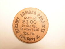 Older wooden nickel ($1) ad for Hershey Lumber Products, Harrisburg, PA