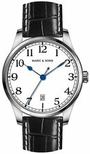 MARC & SONS Marine Automatic Watch Date (White Dial) Date MSM-006 UK Seller