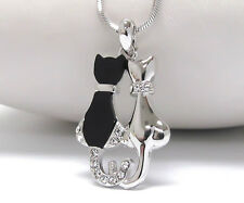 Cute Onyx Cross Kitty Cat White Gold Plated Crystal Deco Pussycat Chain Necklace