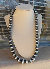 Large Silver Antique Finish Navajo Handmade Bead Necklace 109 Grams