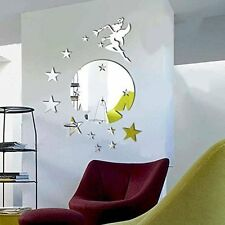 Walplus Mirror Wall Art  Flying Fairy Tinker Bell with Stars Round  Wall Sticker