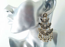 Beautiful vintage gold tone & diamante big chandelier layered drop earrings  NEW