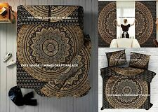 Indian Black Gold Ombre Mandala Duvet Doona Cover + Tapestry + Curtains 5 PC SET