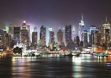 NEW YORK NIGHT SKYLINE MANHATTAN Photo Wallpaper Wall Mural SKYSCRAPERS  335x236