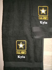 Personalized 2 Piece Bath Towel Set Army Military Color Choice
