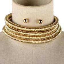 "14.50"" gold 4 layer coil choker collar metallic necklace multi strand balmain"