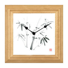 Wanduhr TAKE Buche Natur Massivholz Japan Bambus japanische Tuschenmalerei