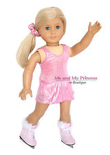PINK ICE SKATING DRESS & Hair Tie+ SKATES for 18 inch American Girl Doll clothes