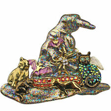 Kirks Folly Black Cat's Menagerie Witch Hat Pin/Pendant-Goldtone/Black+Necklace