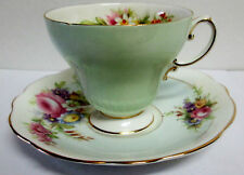 LIGHT Green Floral Cup Saucer Set England Fine Bone china 1850 EB Foley