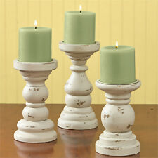 Park Designs South Port Cream Wooden Candle Holders Set of 3 Short Southport