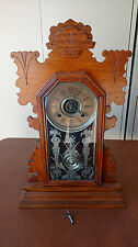 Ansonia Clock Co.  Mantle Parlor Kitchen Clock 8 Day Burton Strike Antique