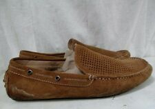 Mens THE RAIL Leather Moccasin Shoes Footed Slipper Suede BROWN EYEHOLE 12