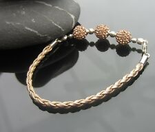 Golden Satin Faux Leather 3mm Cord Braided Bracelet with 925 Silver Ends Clasp