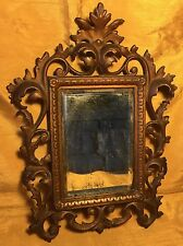 """Antique Gold Painted Ornate Rococo Cast Iron Frame 4 X 5.75"""" Wall Hanging Mirror"""