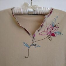 M&S Size 14 Cream Top beautifully embroidered around neckline simple but perfect