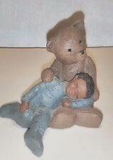 Martha Holcombe Black Americana Figurine Boy With Teddy Bear