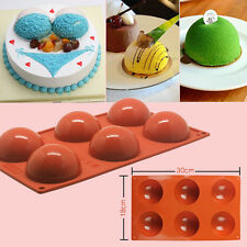 6-Cavity DIY Silicone Cake Mold Half Sphere Cupcake Chocolate Mould Pan Bakeware
