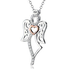 925 Sterling Silver Gem CZ Spirit Angel Wing Pendant Gold Tone Heart Necklace18""