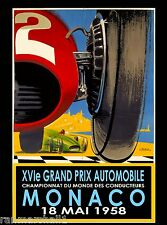 1958 Monaco Grand Prix Automobile Race Car Advertisement Vintage Poster