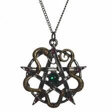 Mythic Celts Sulis Minerva Serpent Pentagram Pendant Necklace For Wisdom Healing