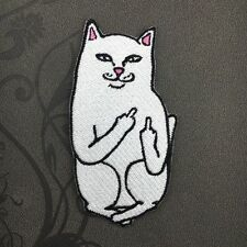 Embroidery Funny Cat Middle Finger Patch Badge Bag Clothes Fabric Applique DIY