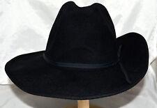 Fashionwest Black Wool Western Cowboy Hat with Grosgrain Band Sz M Made in USA